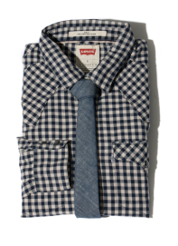 The gingham shirt with denim tie is classy enough for martinis after work, but it's also casual enough for a pint at the pub.