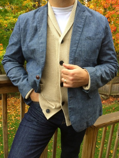 4. Urban Hipster Daddies make ends meet with a single, all-purpose blazer. Chambray (feels and looks like thin denim) can dress up jeans and a sweater, or can step up to handle a tie at Maple Dale Elementary School Open House Night.