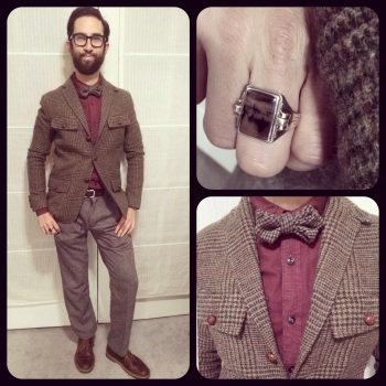 It takes midway-age to rock tweed.